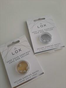 lox € 12,50 voor 2 paar in zilverkleur of goudkleur